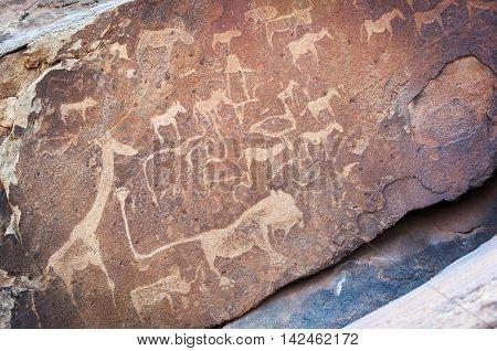 Rock art engravings Twyfelfontein World Heritage Site Uibasen Conservancy Damaraland Namibia