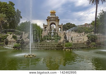 BARCELONA SPAIN - JULY 11 2016: Carro de la Aurora in Ciutadella park in Barcelona Spain.