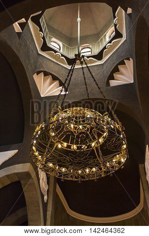 Beautiful chandelier in armenian church in Kislovodsk.