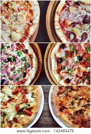 Collage of different types of delicious pizzas with olives, salami, pineapple and meat