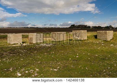 Anti Tank Cubes, Stone World War Two Invasion Defences.