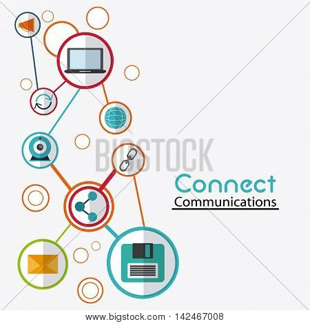 laptop envelope diskette global share, connect communications social network icon. colorful illustration