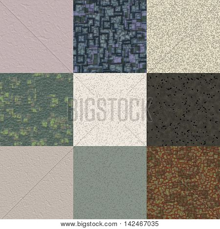 Set of stucco plaster generated seamless textures