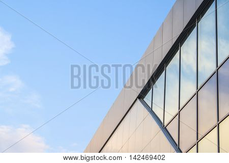 Detail Of Architecture Of Modern Office Buildings Of Glass. Architectural, Glass Background.