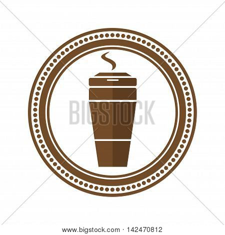 Logo coffee cup in a flat style.