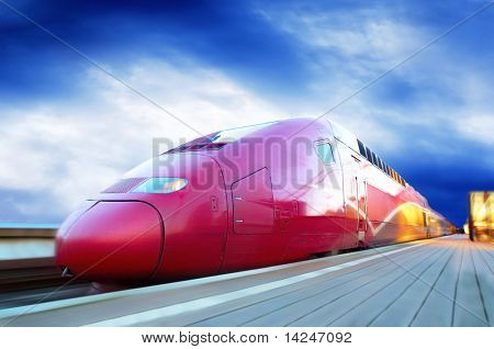 High-speed train with motion blur outdoor poster