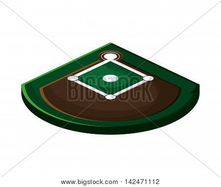 flat design baseball field icon vector illustration