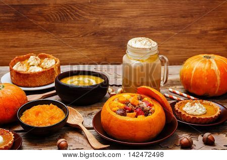 List of pumpkin dishes. Pumpkin Latte; Pumpkin stuffed with meat and vegetables; pumpkin tartlet; pumpkin soup; pumpkin puree.