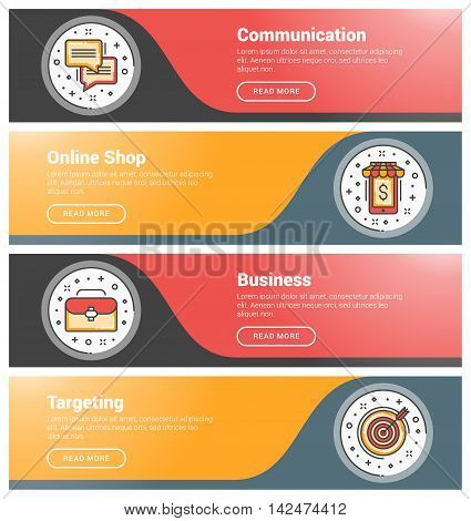 Flat Design Concept. Set Of Flat Line Business Website Banner Templates. Template For Wesite Headers