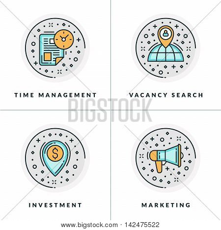 Business And Working. Set Of Four Icons On Time Management, Vacancy Search, Investment, Marketing. C