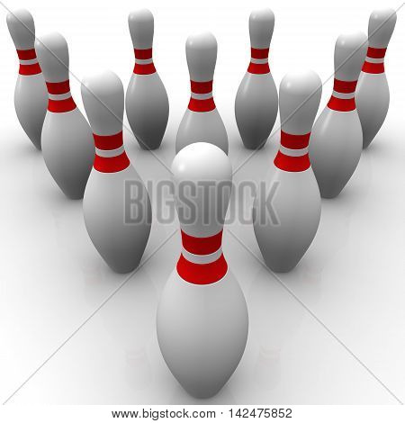 Skittles for bowling game. Ten pins for bowling game. Isolated. 3D Illustration