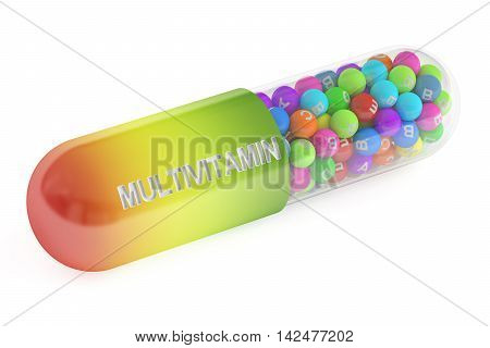 multivitamin capsule 3D rendering isolated on white background