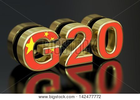 Summit G20 in China meeting concept 3D rendering
