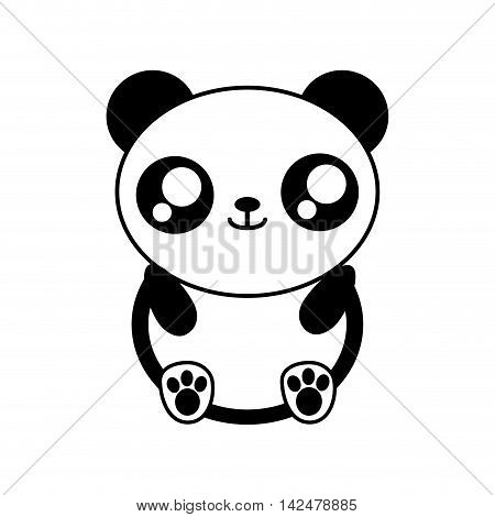 panda bear kawaii cute animal little icon. Isolated and flat illustration