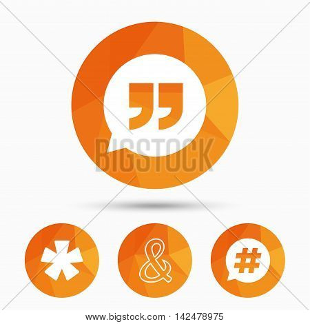 Quote, asterisk footnote icons. Hashtag social media and ampersand symbols. Programming logical operator AND sign. Speech bubble. Triangular low poly buttons with shadow. Vector