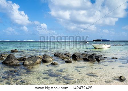 BEL OMBRE, MAURITIUS ISLAND - JUNE 17, 2016: Diving boat in Bel Ombre beach, Mauritius island, June 17, 2016