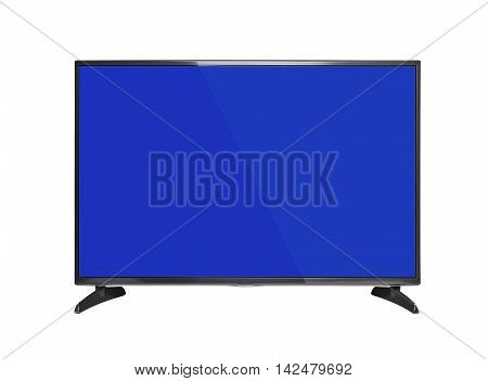 Modern TV set with blue screen. Isolated on white background.