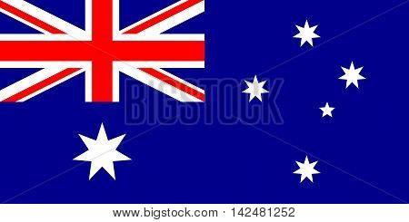Flag of Australia in correct size proportions and colors. Accurate dimensions. Australian national flag.