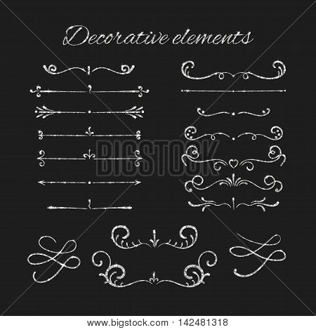 Silvery flourishes. Silver text dividers set. Ornamental decorative elements. Vector ornate design. Shiny decorative hand drawn borders with glitter effect. Calligraphic decorations with sparkles.