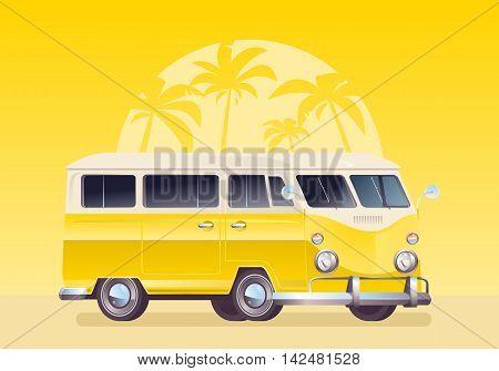 Summer colorful illustration. Camper van wagon truck. Summer vacation. Travel van on yellow background