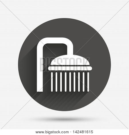 Shower sign icon. Douche with water drops symbol. Circle flat button with shadow. Vector