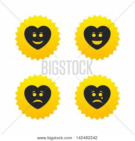 Heart smile face icons. Happy, sad, cry signs. Happy smiley chat symbol. Sadness depression and crying signs. Yellow stars labels with flat icons. Vector