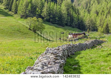 Stone Wall South Tyrol, Italy