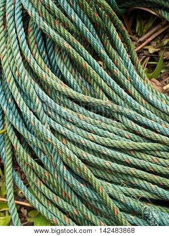 Roll bristly of green nylon rope in garden
