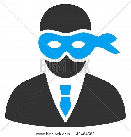 Masked Thief icon. Vector style is bicolor flat iconic symbol with rounded angles, blue and gray colors, white background.