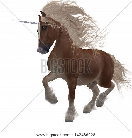 Shetland Unicorn 3D Illustration - A fantasy animal that is a cross of the Shetland pony and the Unicorn of folklore and legend.