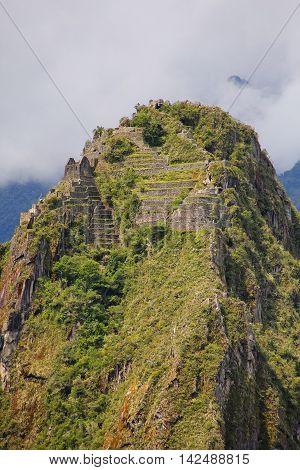 Terraces And Buildings On Huayna Picchu Mountain At Machu Picchu Citadel, Peru