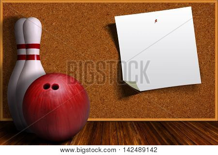Game Concept With Bowling Equipment And Cork Board