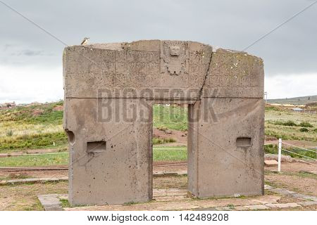 Gate of the sun - Tiwanaku - Boiivia. Archeology of pre-Inca ruins of the Tihuanaco culture.