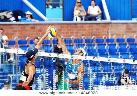 PRAGUE - JUNE 19: Tod Rogers (USA) in blue, beach volleyball SWATCH FIVB World Tour 2010 June 19, 2010 Prague