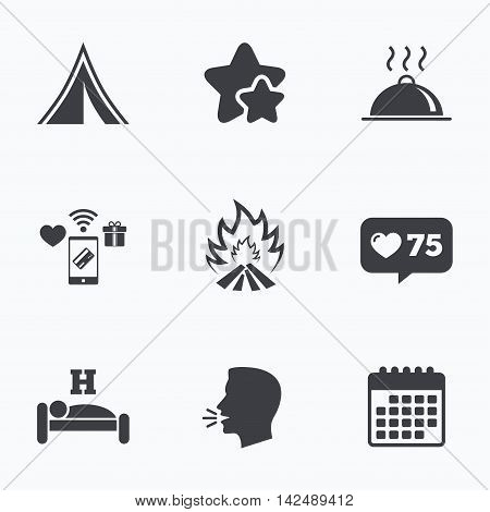 Hot food, sleep, camping tent and fire icons. Hotel or bed and breakfast. Road signs. Flat talking head, calendar icons. Stars, like counter icons. Vector