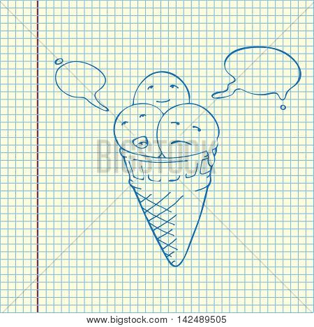 Icecream Cone Three Flavours. Speech Bubbles