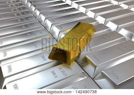 rows of rendered silver bars and one goldbar, 3d rendering