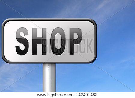 Shop now sign go to the online webshop road sign, internet web shopping billboard 3D illustration