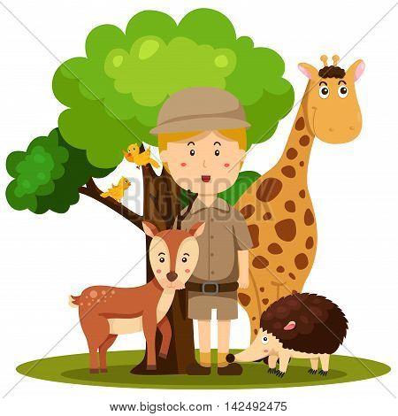 Illustrator of zoo keeper man and animal