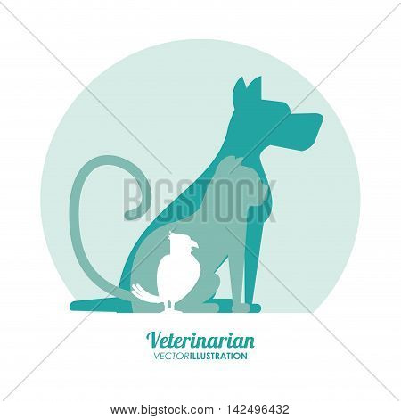 dog cat bird silhouette veterinarian pet clinic icon, vector illustration