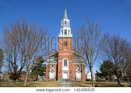 First Unitarian Church was built in 1816 at the head of Church Street as the oldest house of worship in Burlington, Vermont, USA