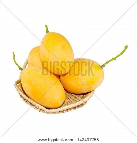 sweet Marian plum thai fruit isolated on white background (Mayongchid Maprang Marian Plum and Plum MangoThailand)