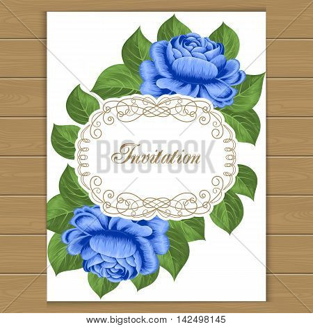 Vintage floral invitation template with hand drawn roses. Vector illustration in retro style.