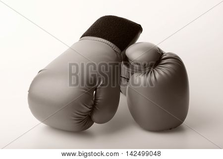 sepia color pair of leather boxing gloves