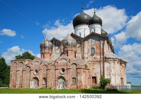 Trinity Cathedral of the Holy Trinity Michael Klopskiy monastery closeup on a sunny june day. Novgorod region, Russia