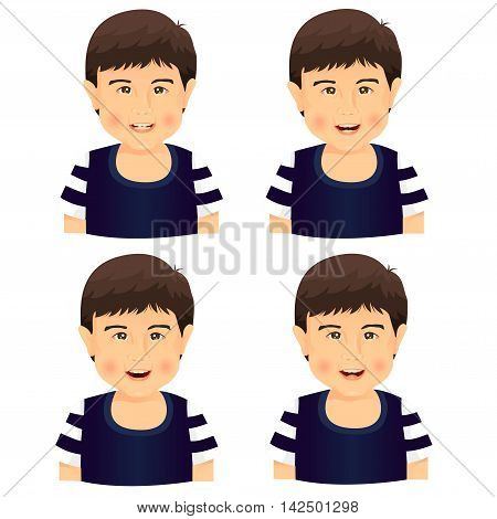 Illustrator of boy smile character on white background