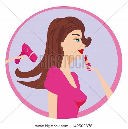 Woman with long hair in beauty salon , vector illustration