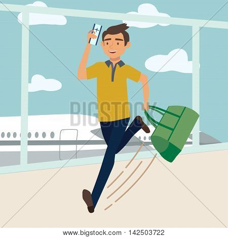 Man with bag late for the plane. Vector illustration