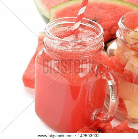 Smoothies of watermelon on a white background