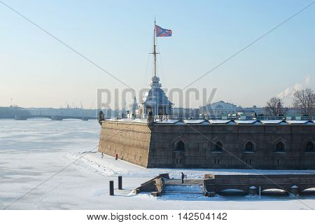 Ancient Naryshkin Bastion and Flagstone tower in the Peter and Paul fortress frosty february day. Saint Petersburg Russia